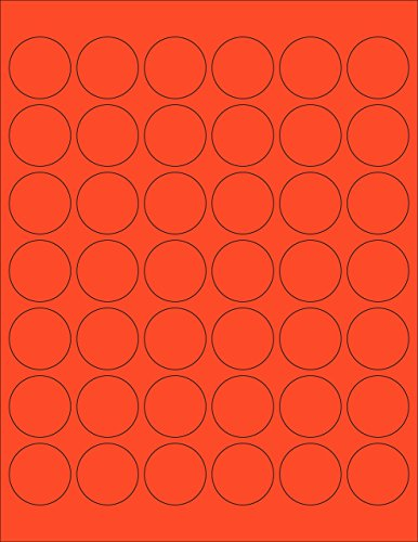 ChromaLabel 1-1/4 inch Round Labels for Laser & Inkjet Printers | 1,050/Pack (Fluorescent Red-Orange)