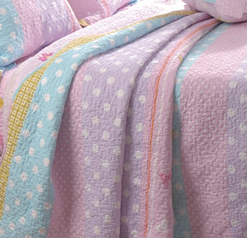 Greenland Home Polka Dot Stripe Quilt Set, Twin
