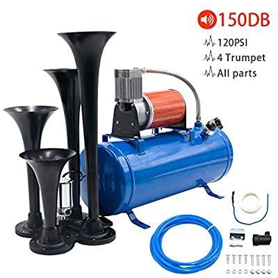 Flow.month 150DB Train Horn - 4 Trumpet Truck Horn Kit with 120PSI Air Compressor and Gauge for Vehicles Trucks Train Van Boats: Automotive