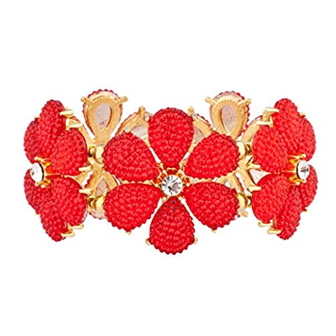 Lux Accessories Red Floral Flower Crystal Stretch Bracelet - Glitter Stretch Bracelet