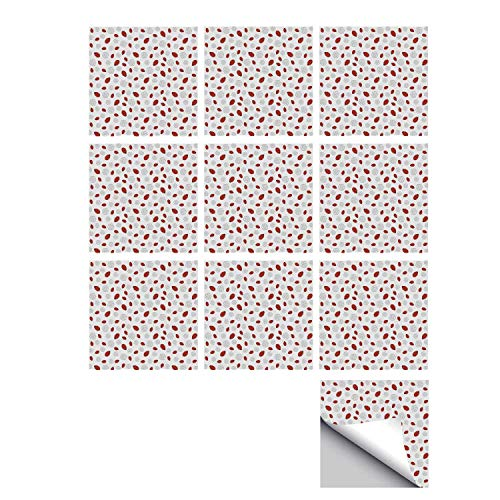 C COABALLA Ladybugs Stylish Ceramic Tile Stickers 10 Pieces,Abstract Flower Silhouettes Nature Illustration Children Cartoon Style Decorative for Kitchen Living Room,7