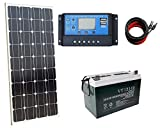 ECO-WORTHY 100 Watt Solar Panel Complete Off-Grid RV Boat Kit 20A LCD Charge Controller + Solar Cable + 100Ah AGM Deep Cycle Battery