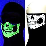 USA Made Black Cotton Glowing Skull Bandana Face Neck Shield VELCRO®brand Adjust