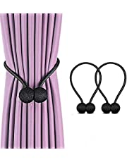 Magnetic Curtain Tiebacks, Decorative Curtain Clips Rope Holdbacks Tie Backs for Home Office Window Decoration, No Drilling and Holes Required (Black)