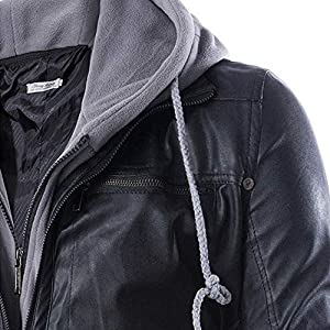 Mens Outwear Clearance WEUIE Men Leather Autumn&Winter Jacket Biker Motorcycle Zipper Outwear Warm Coat(L, Black )