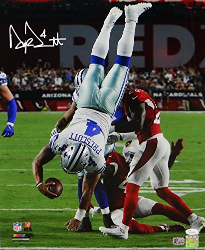 Dak Prescott Autographed Dallas Cowboys 16x20 Flip PF Photo- JSA W Auth/Holo (Autographed Dallas Cowboys 16x20 Photo)