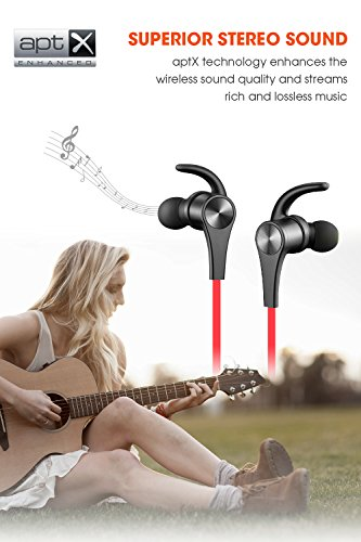 SoundPEATS Bluetooth Headphones In Ear Wireless Earbuds 4.1 Magnetic Sweatproof Stereo Bluetooth Earphones for Sports With Mic (7 Hours Play Time, Secure Fit, Noise Cancelling) - Red