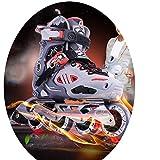 JZX Skates, Children's Full Set of Roller Skates,Black,30-33
