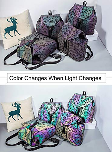 4d02532e60 Women Geometric Luminous Backpack Handbag Fashion Shoulder Bag Lingge Flash  Travel Rucksack NO.2