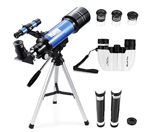 MaxUSee 70mm Refractor Telescope + 8X21 Compact Binoculars for Kids and Astronomy Beginners, Travel Scope for Moon Stars Viewing Bird Watching Sightseeing by MaxUSee