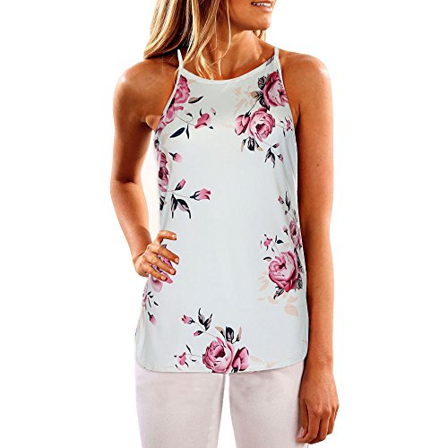 Flower Print Cami - HGWXX7 Women Casual Sleeveless Flower Print O-Neck Blouse Vest Camis Tank Tops (M, White)