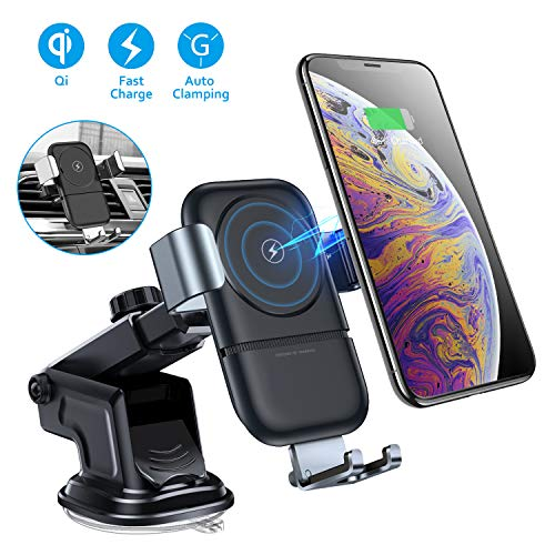 VANMASS Wireless Car Charger Mount, 10W Qi Car Charger Phone Holder of Automatic Clamping Gravity Sensor, Compatible with iPhone X/XR/8/8 Plus, Galaxy S8/8+, S9/9+, S10, Note8, Air Vent Clip Included