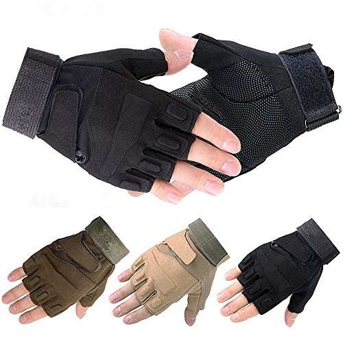 Military Half-finger Fingerless Tactical Ultra Grip Sun-resistant Hunting Riding Cycling Climbing Gloves-Black-M