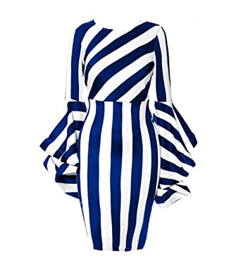 a8a94b8011a YUHENG Women Plus Size Dresses for Wedding Fashion Horn Long Sleeve Blue  and White Stripe Soft