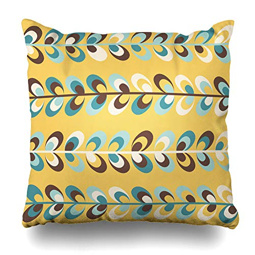 Ahawoso Throw Pillow Cover Pillowcase Yellow Midcentury Geometric Retro Vintage Brown Mustard Teal Colors Floral Mod Pattern Abstract 60S Zippered Square Size 20 x 20 Inches Home Decor Cushion Case