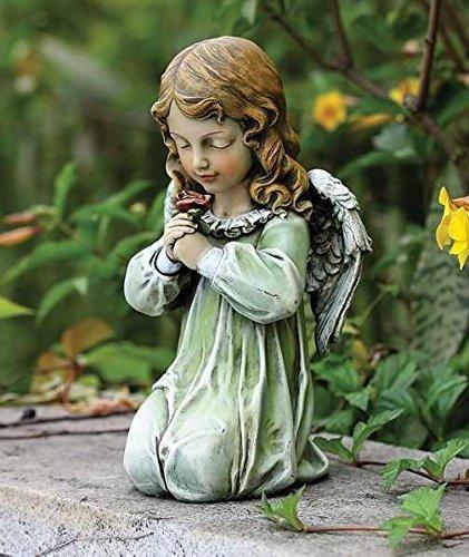 Roman 60199 Flower Looking Josephs Studio Sitting Angel Outdoor Garden Statue, 12