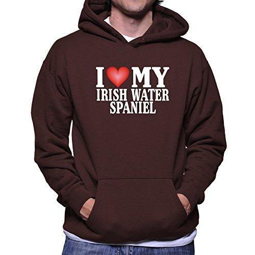 Teeburon I LOVE Irish Water Spaniel (Spaniel Brown Hoodie)