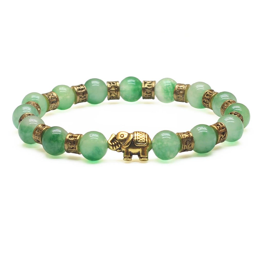 Weelovee Handcraft Nature Stone Golden Elephant Buddha Buddhist Beaded Bracelet for Women Mens,8mm Semi-precious Jewelry