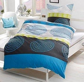 My Home 4 Tlg Linon Bettwäsche 155x220 80x80 453883 Blau Amazon