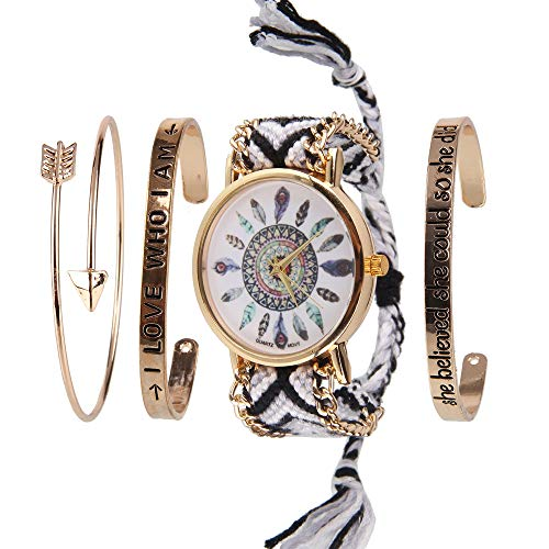 Beauty7 4PCS Women Boho Dream Catcher Tree Turquoise Arrow Love Stackable Cuff Bracelet Watch Set Bangle