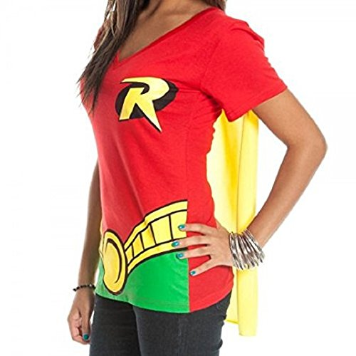 Bioworld DC Comics Robin Juniors Red V-Neck Cape T-Shirt-Red-Extra Large