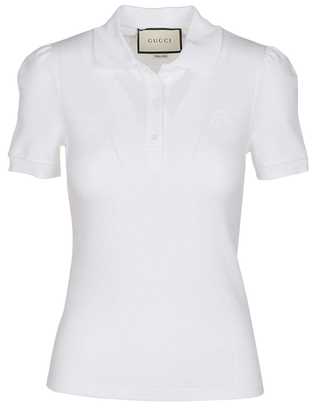 294ad255a Amazon.com: Gucci Women's White Cotton Short Sleeve Polo Shirt, White, XS:  Clothing