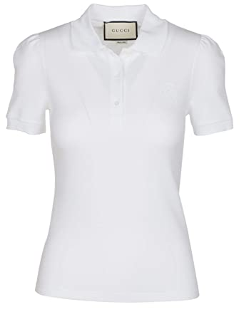 14be95b153151 Gucci Women s White Cotton Short Sleeve Polo Shirt