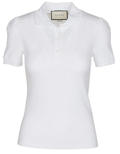 32d91f6847f2 Amazon.com: Gucci Women's White Cotton Short Sleeve Polo Shirt, White, XS:  Clothing
