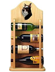 Michael Park BLACK AND SILVER Schnauzer Wine Rack 4 Bottle Light Oak