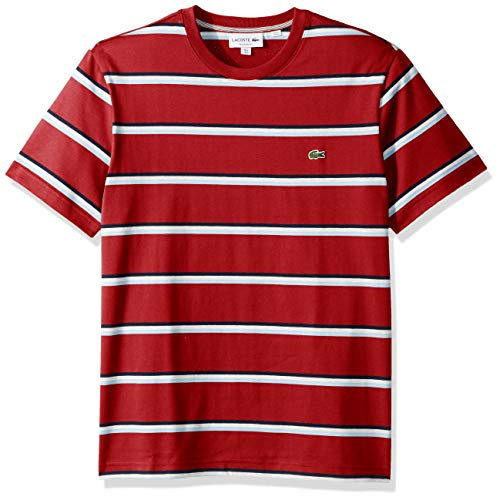 Lacoste Men's S/S Striped Jersey T-Shirt Shirt, red/Creek/White/Navy Blue, - Striped T-shirt Jersey