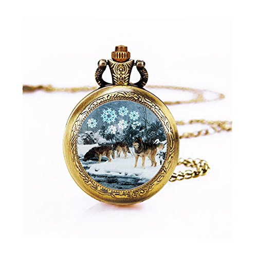 Wild Pocket Watch (Skyboby Amazing wolf in the snow pocket watch necklace Snow Wolf Glass watch Pendant Necklace Mother's Day Gift, Friend Gift, birthday gift, Easter)