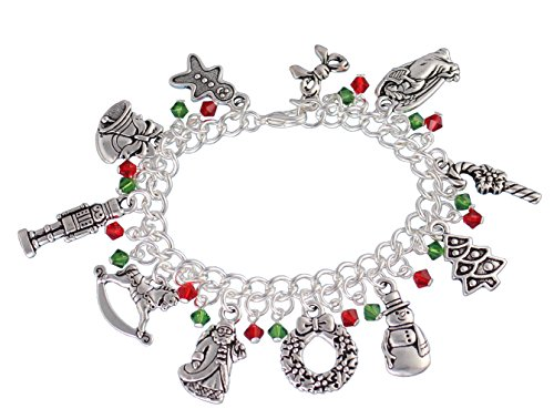 (Night Owl Jewelry Silver Plated Christmas Charm Bracelet- Red & Green Crystals, Santa, Snowman, Tree, Toys -Size M (7.5 Inches (Medium)) )