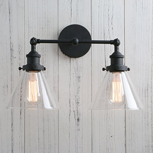 Permo Vintage Industrial Antique 2-Lights Wall Sconces with Dual Funnel Clear Glass Shade (Black) by PERMO (Image #1)