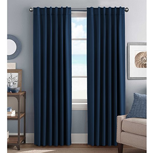 H.Versailtex Navy Curtains Blackout Thermal Insulated Back Tab / Rod Pocket Curtain Panels – Window Treatment Drapes for Bedroom/Living Room – 52×84 Inch, Set of 2