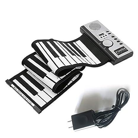 loonBonnie 61 Teclas Teclado Electrónico de Piano Silicio Flexible Roll Up Digital Piano 128 Tono para Niños Juguete Aprendizaje Principiante Juguetes ...