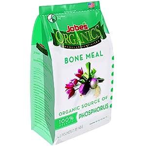 Jobe's Organics Bone Meal Fertilizer 2-14-0 Organic Phosphorous Fertilizer for Vegetables, Tubers, Flowers and Bulbs, 4 Pound Bag