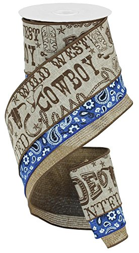 Blue Rodeo Fabric - Cowboy Bandana Wired Edge Ribbon, 4