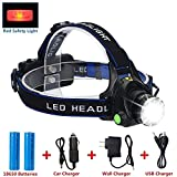 LED Headlamp Flashlight Kit, ANNAN 2000-Lumen Super Bright Headlight with Zoomable Head, Red Safety Light,4 Modes, Waterproof Light for Camping, Biking, 2 Rechargeable 18650 Batteries Included Reviews