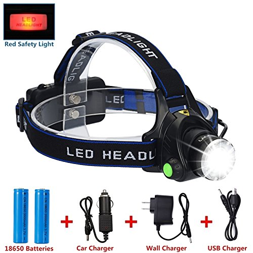 LED Headlamp Flashlight Kit, ANNAN 2000-Lumen Super Bright Headlight with Zoomable Head, Red Safety Light,4 Modes, Waterproof Helmet Light for Camping, Biking, 2 Rechargeable 18650 Batteries Included (Outside Pockets 12)