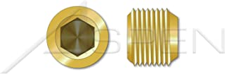 """product image for (200 pcs) 1/8""""-27 X 1/4"""", Threaded Screw Pipe Plugs, Flush Seating, Hex Socket Drive, 7/8"""" Taper, Brass, Holo-Krome"""