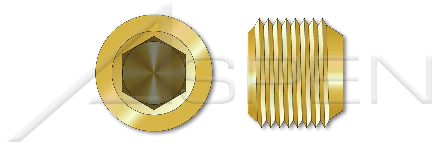 (200 pcs) 1/16''-27 X 1/4'', Threaded Screw Pipe Plugs, Flush Seating, Hex Socket Drive, 7/8'' Taper, Brass, Holo-Krome by Holo-Krome
