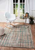 "SUMMIT BY WHITE MOUNTAIN Summit QJ-EFV5-3S3O 102 New Taupe Turquoise Area Rug Modern Abstract Many Sizes Available, 4′. 10"" x 7′. 2"" For Sale"