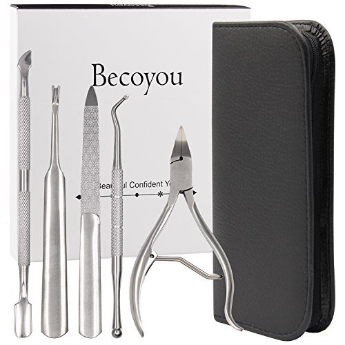 Manicure and Pedicure Tools Set, Becoyou 5 Pcs Cuticle Nippers Cuticle Trimmer Cuticle Pusher Cuticle Remover Cuticle Cutter Nail Files Stainless Steel Professional Nail Tools Kit