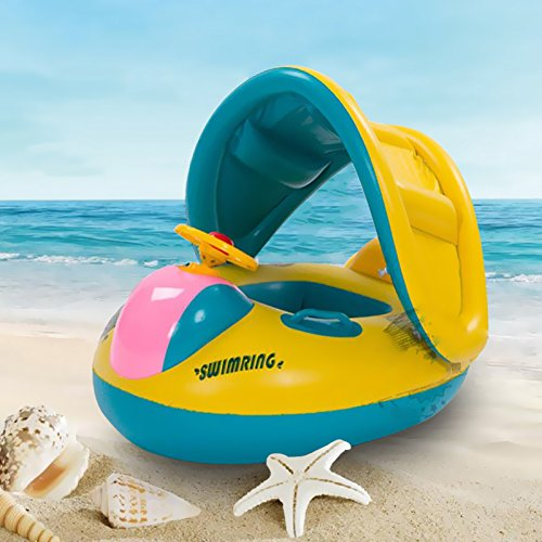 Swimming Ring with Sunshade Baby Inflatable Pool Floating...
