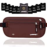 Money Belt for Travel, Waist Wallet RFID Blocking Passport Holder Concealed Anti Theft Stash Pouch for Men Women Travelling and Daily Use, Bonus 10 RFID Blocking Sleeves, Brown