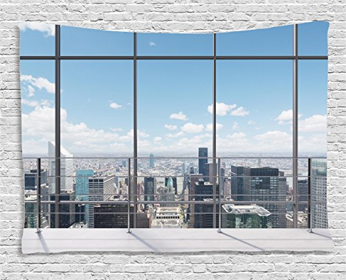 House Tapestry Landscape Decor By Ambesonne  Modern Office Work Place With View To City Architecture Contemporary Urban  Bedroom Living Room Dorm Wall Hanging  80 W X 60 L Inch  Multi Color