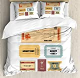 Ambesonne Movie Theater King Size Duvet Cover Set, A Set of Retro Cinema and Other Events Tickets for One Vintage Illustration, Decorative 3 Piece Bedding Set with 2 Pillow Shams, Multicolor