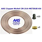 "AAS Copper Nickel Tubing CN-316 3/16"" x 25' Brake Line with 15 Metric Bubble Flare Fittings"