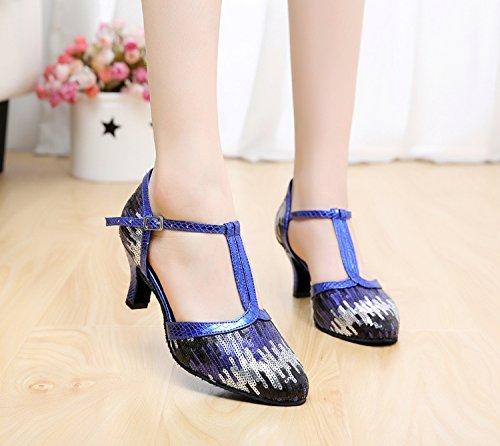Femmes Danse tincelle Minitoo Qj706 Pour Salsa De Latine Paillettes Bleu Moderne Satin Chunky Tango Ballroom Chaussures tq1wU
