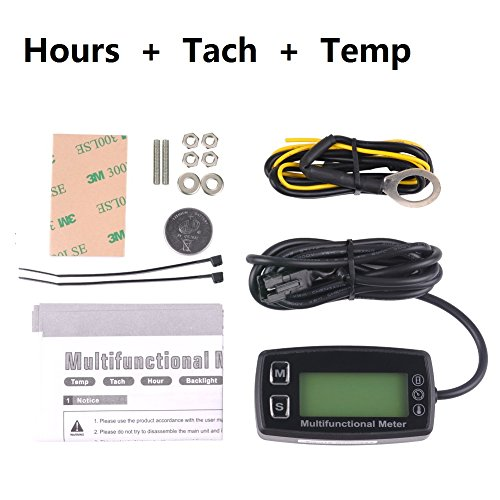 Searon Digital Backlit Engine Tachometer Hour Meter with sparking plug Temp Temperature Sensor for RC Toys PWC ATV Motorcycles Marine Engines Chain Saws Tractors Lawnmowers